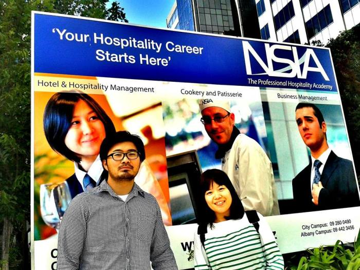 Two young Japanese student in an University of New Zealand studying for a Hotel and Hospitality program much appreciated in the tourism industry