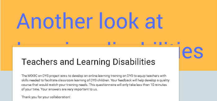 Mooc dys : questionnaire for the teachers who are dealing with children with specific learning disorders